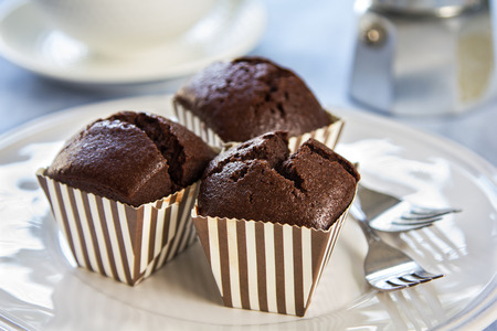 brown stripe: Homemade Chocolate cupcakes in brown stripe cup