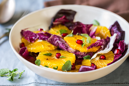 radicchio: Orange with Pomegranate and Radicchio salad by Balsamic dressing