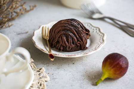 blanc: Chocolate Mont Blanc by cup of tea and fresh Figs