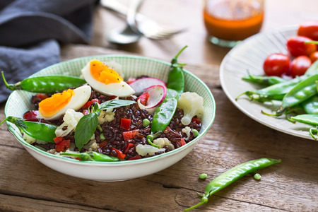 Thai Rice berry with Boiled egg  and Snow pea salad