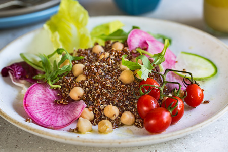 rocket lettuce: Red Quinoa with Chicpea and Radish salad