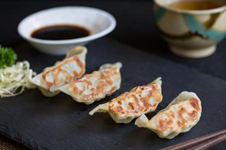gyoza: Japanese dumplings snack  or side dish  called Gyoza or Jiaozi in China