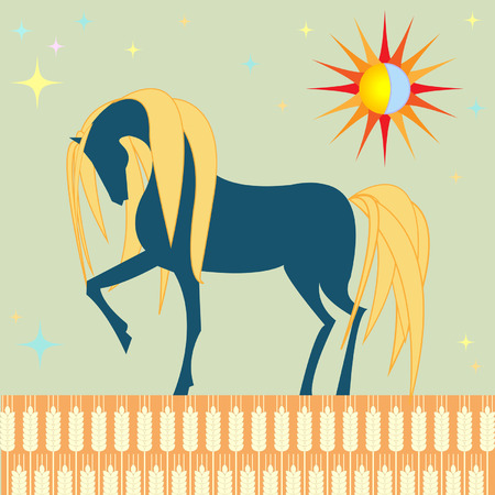 intractable: horse in a wheat field Illustration