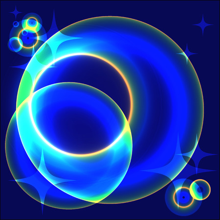 outburst: abstract glowing blue planets in open space
