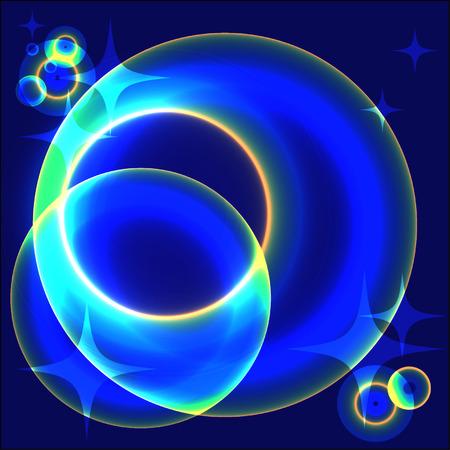 fib: planetas azules brillantes abstractas en espacio abierto
