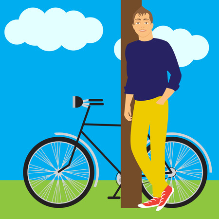 actual: boy and bike Illustration