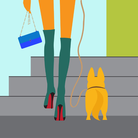 jackboots: fashionable girl walking with dog