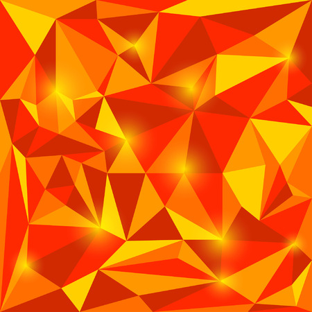 Abstract autumn colored vector triangular geometric background with glaring lights