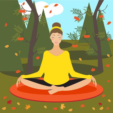 autumn park: yoga girl in autumn park