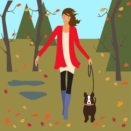 autumn park: girl and dog in autumn park Illustration