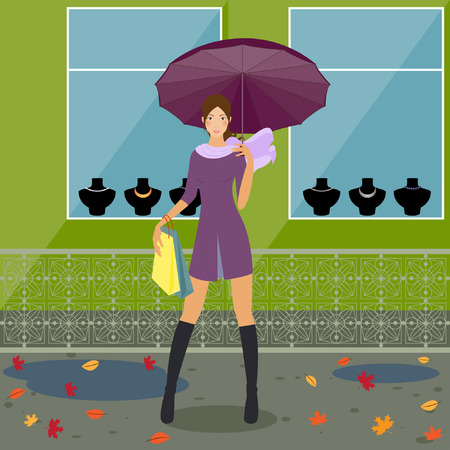 fashionable girl near the store Vector