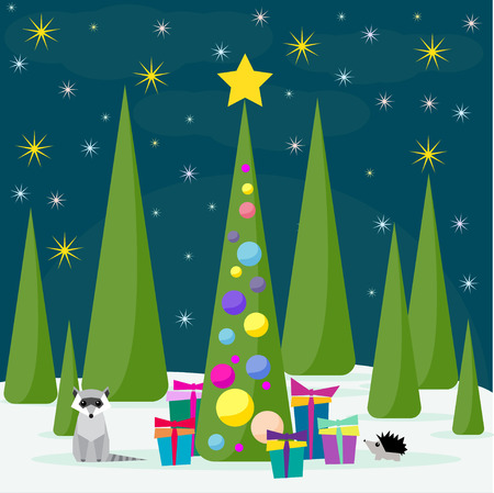 spruse: Funny winter holidays card background with cute raccoon and spruse with bright glass balls and gifts in the night forest