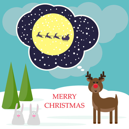 fell: Winter christmas card with funny deer and rabbits Illustration