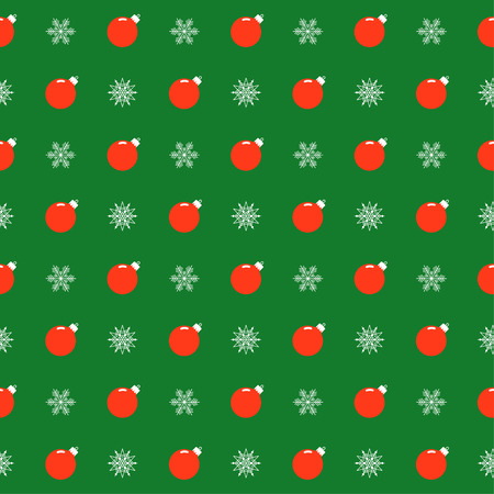reiteration: holiday bright colored pattern background with bright red Christmas balls and snowflakes on green cover