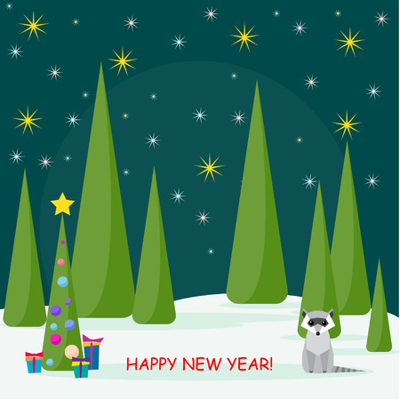 spruse: Funny winter holiday card with cute raccoon and spruse with glass balls and gifts in the night forest Illustration