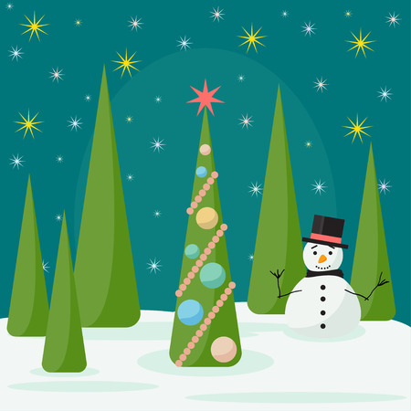 spruse: Funny winter holidays card background with snowman and spruse in the night forest