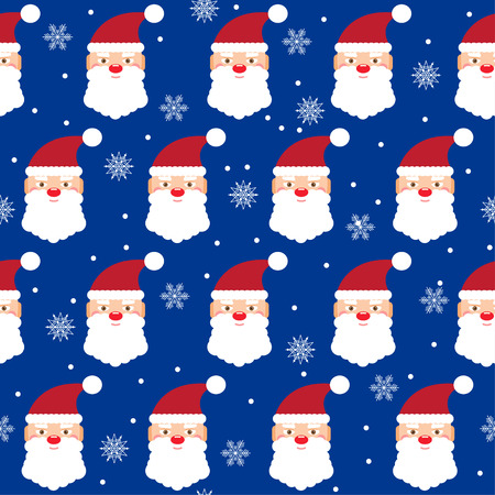 reiteration: holiday bright colored pattern background with santa and snowflakes on blue cover