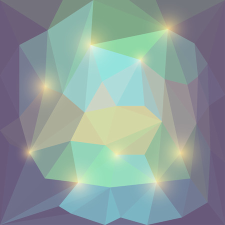 motley: Abstract soft motley colored vector triangular geometric background with bright yellow glaring lights Illustration