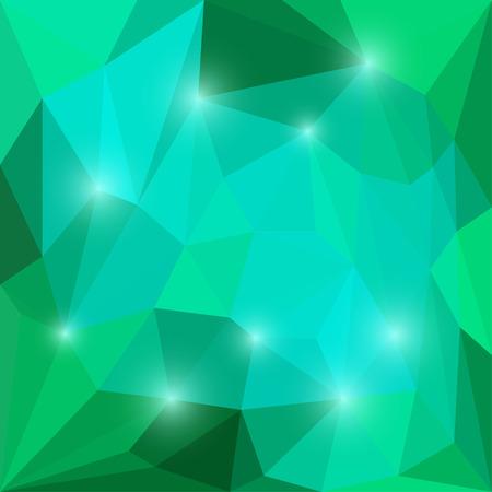 Abstracte heldere smaragd en blauw gekleurde vector driehoekige geometrische achtergrond met glanzende blauwe lichten