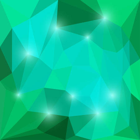 Abstract bright emerald and blue colored vector triangular geometric background with shining blue lights Illustration