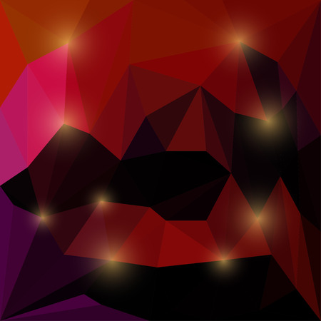 medley: Abstract deep red and cherry colored vector triangular geometric background with bright glaring lights