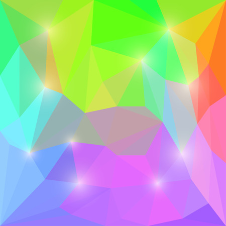 Abstract bright rainbow motley colored vector triangular geometric polygonal background with bright lights