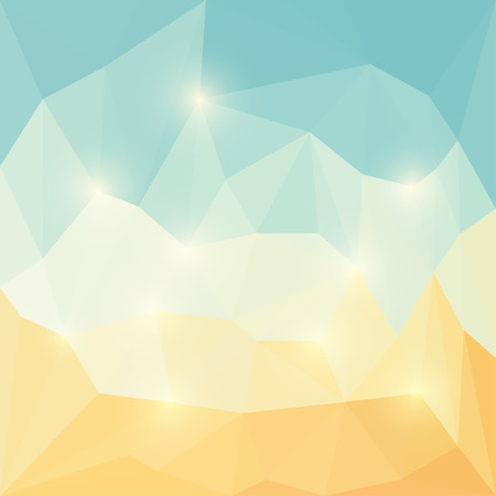 medley: Abstract soft colored vector triangular geometric background with soft yellow glaring lights Illustration