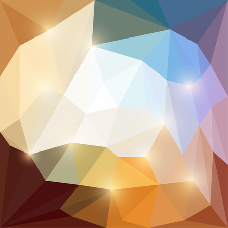 medley: Abstract beige, brown, orange and blue bright colored vector triangular geometric polygonal background with glaring lights
