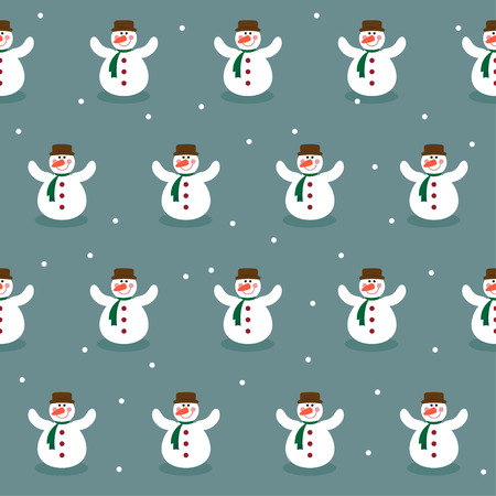 invented: Winter holiday pattern background with funny snowman