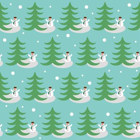 marvel: Winterurlaub Muster Hintergrund mit lustigen Schneemann und Tanne
