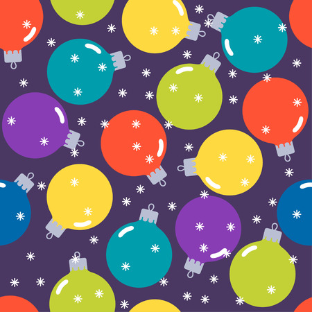 reiteration: Holiday bright colored pattern background with Christmas balls and snowflakes on dark cover
