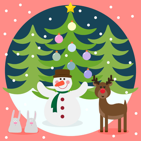 Winter christmas card with funny deer, snowman, rabbits and fir with glass holiday balls Vector