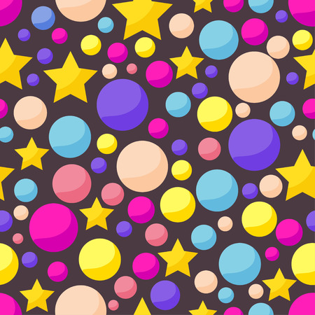 confines: cosmic pattern background with funny drawing bright planets and stars in open space Illustration