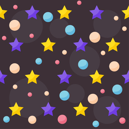 confines: cosmic pattern background with drawing bright planets and stars in dark open space Illustration