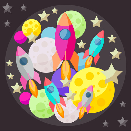 confines: Bright colored space cover with colorful planets, stars and spaceships on dark background
