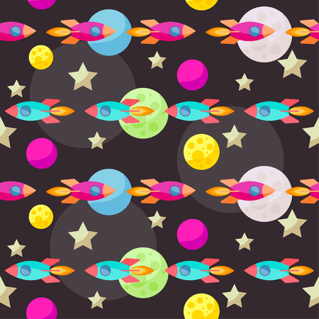 confines: Bright colored space pattern background with colorful bright planets and spaceships
