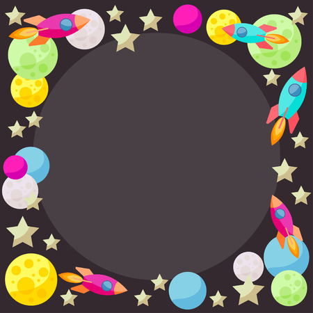 confines: Bright colored space background with colorful bright planets and spaceships Illustration