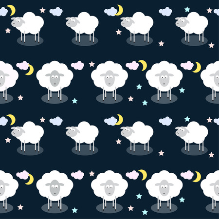 reiteration: Funny vector pattern background with clouds, stars and cute sheep in open space