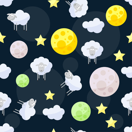 reiteration: unny vector pattern background with clouds, stars, bright planets and cute sheep on the dark cover in open space