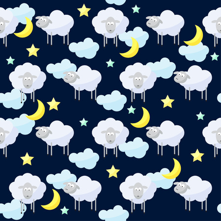 reiteration: Funny vector pattern background with clouds, stars, moon and cute sheep, the symbol of the new year of the sheep on the dark cover