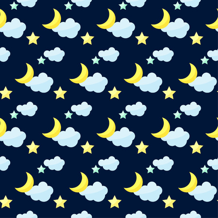 reiteration: Vector pattern background with bright colored cartoon moon, clouds and stars on the dark cover Illustration