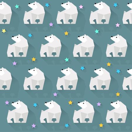 glowing skin: fondo de vector con el oso blanco y estrellas