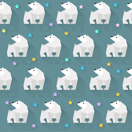 glowing skin: vector pattern background with  white bear and stars Illustration
