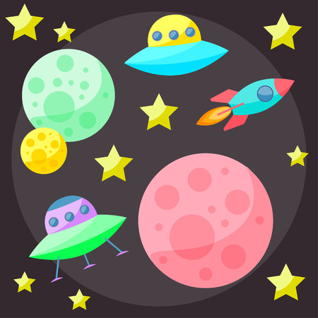 confines: Bright colored vector space cover with colorful planets, stars, ufo and spaceship on dark open space background Illustration