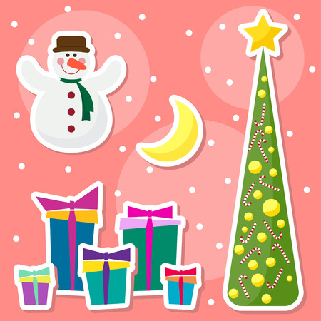 gaiety: Winter holidays background with funny cartoon snowman, drawing snowflakes, moon, fir and many bright colored gifts Illustration