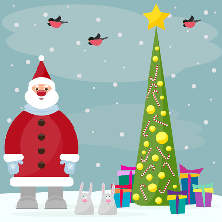 gaiety: funny cartoon winter holidays background with Santa, spruce, bullfinches and cute rabbits