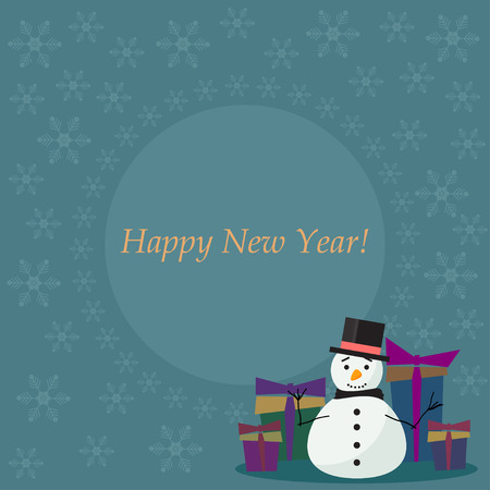 gaiety: winter holiday card  background with cute fanny snowman, soft colored snowflakes and  gifts