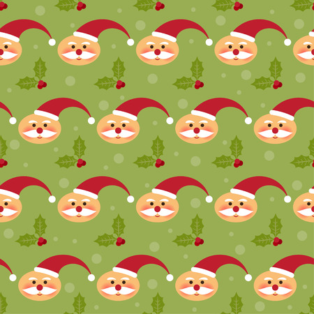 winter holidays pattern background with funny cartoon Santa and branch of Holly on the bright green cover Illustration