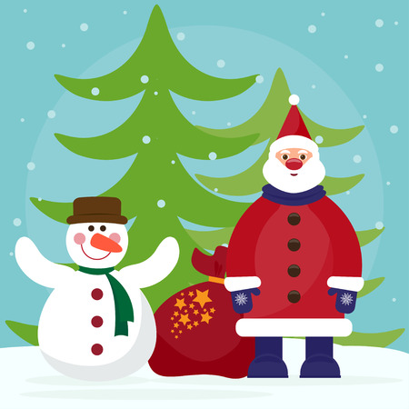 gaiety: funny cartoon winter holidays background with Santa, fir and cute snowman