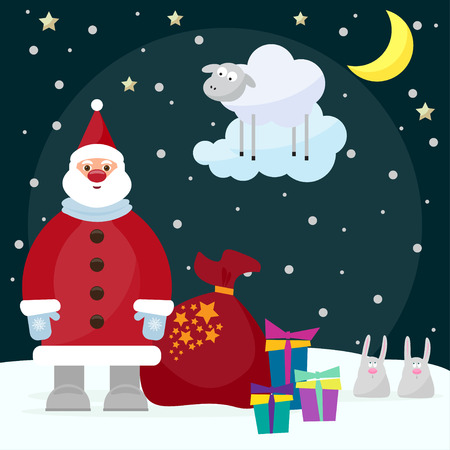funny cartoon picture for use in design on winter holiday greeting card with Santa Claus, funny rabbits, bright gifts and lamb, the symbol of the new year, year of the blue sheep
